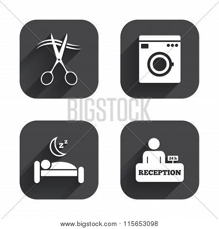 Hotel services icon. Washing machine, hairdresser.