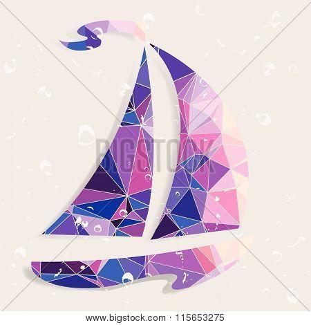 Retro ship background made of triangles.