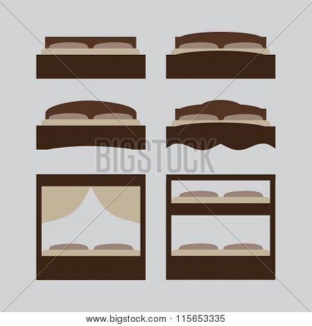Outline Bed, Icon Set, Furniture Pictogram