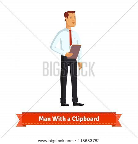 Man with clipboard dressed in white shirt and tie