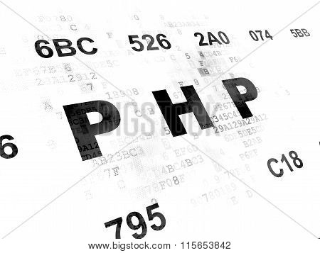 Programming concept: Php on Digital background