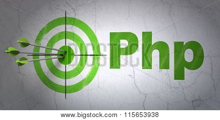 Database concept: target and Php on wall background