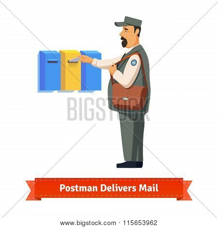 Postman delivers letter to a colorful  mailbox