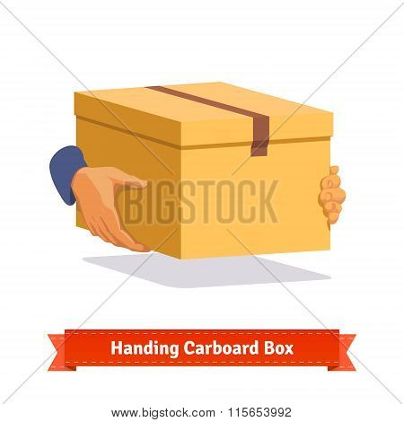 Hands carrying a cardboard box delivery