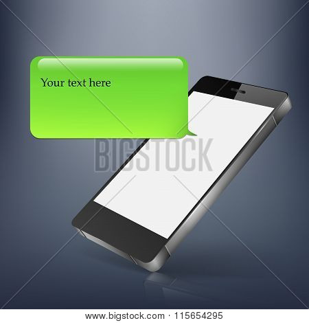 mobile phone text message balloons or chat box- vector icon