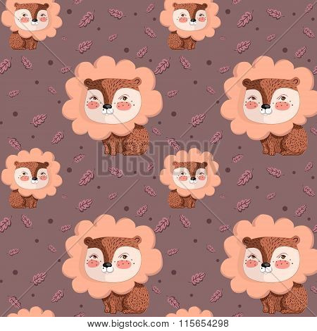 Vector pattern with cute lion on pink background and oak leaves around.