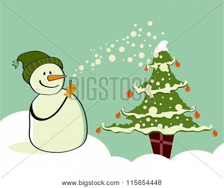 Snowman with gifts beside christmas tree