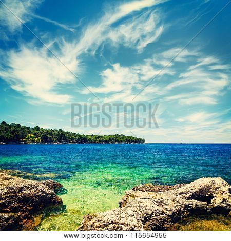 Summer Seascape with Azure Water and Clouds