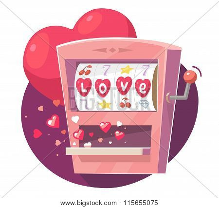 Vector Illustration Of Gaming Machine With Red Hearts On Purple  Background. Art Design For Valentin