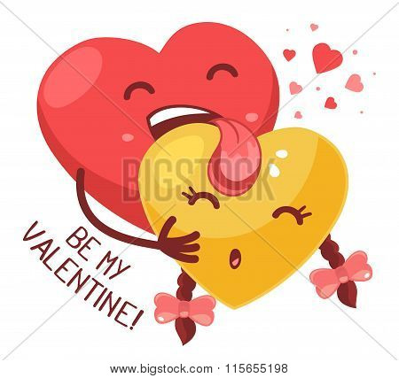 Vector Illustration Of Red Boy Heart Is Licking Yellow Girl Heart On White  Background. Art Design F