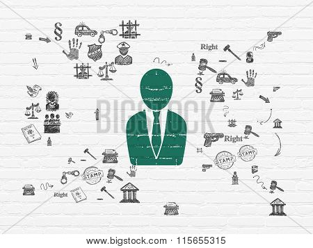 Law concept: Business Man on wall background