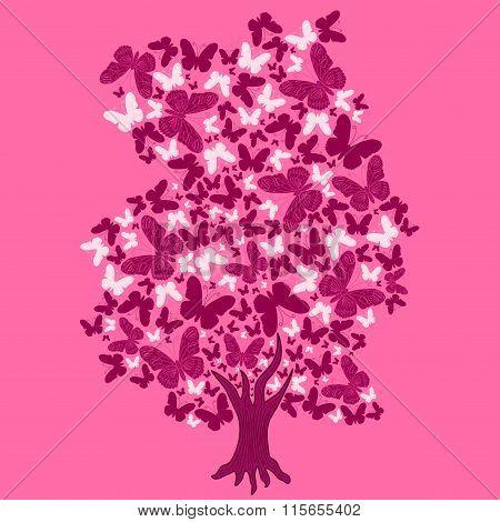 Illustration Tree Of Butterflies