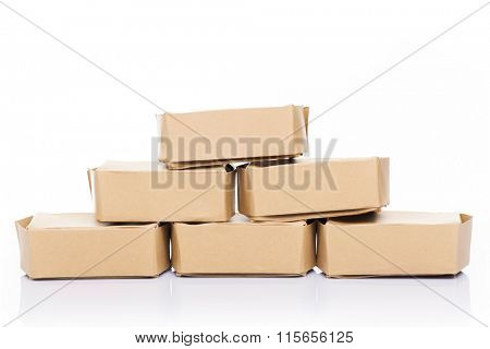 Stack of cardboard boxes, isolated on white background