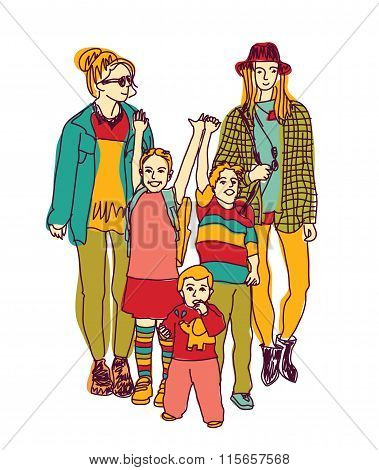Homosexual gay lesbian woman lgbt family couple and kids.