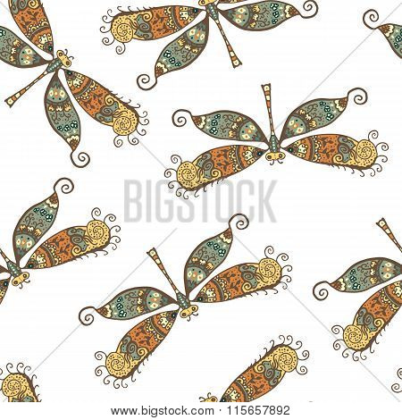 Seamless pattern with dragonflies isolated on white