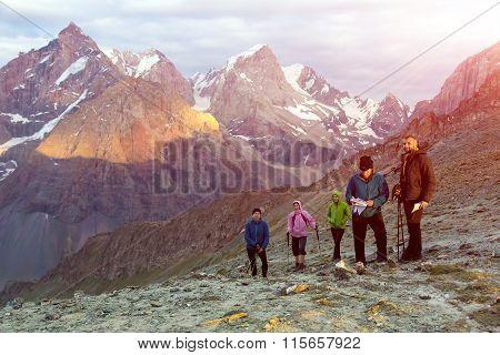 People on mountain pathway