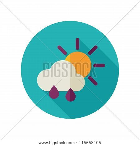 Sun Rain Cloud Flat Icon. Meteorology. Weather