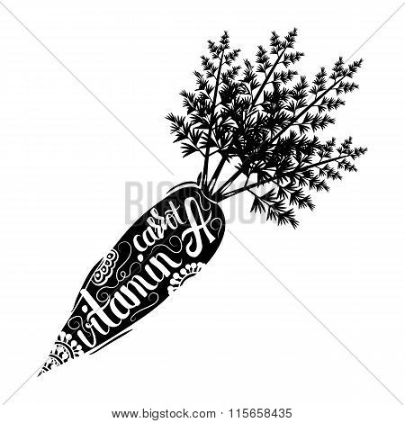 Creative typographic poster with the lettering  handmade ornaments . Vitamin a and beta carotene in