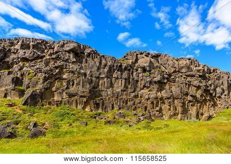 Cliff Of Lava Rock, Thingvellir National Park, Iceland