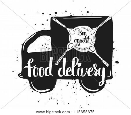 Hand drawn typography poster, home food delivery, isolated on white background. Calligraphy letterin