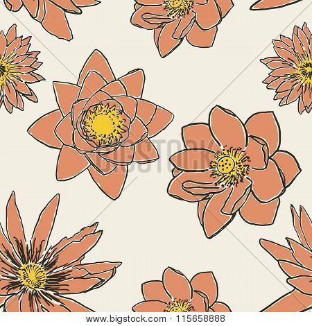 Seamless pattern with flowers, lotus, water lily
