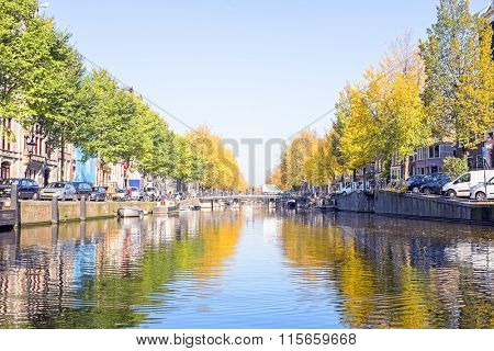 The canals from Amsterdam in the Netherlands in fall