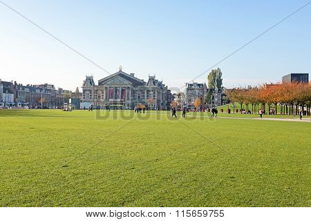 Museumplein in Amsterdam Netherlands in autumn