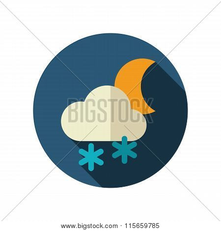 Cloud Snow Moon flat icon. Meteorology. Weather