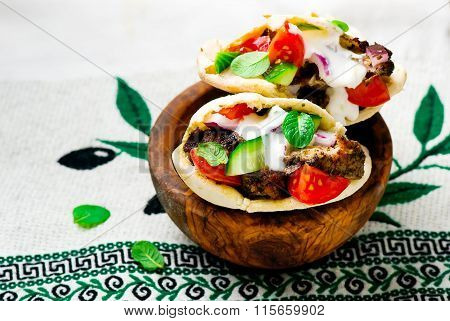 Gyros ,the Greek Sandwich  In A Flat Cake Pita