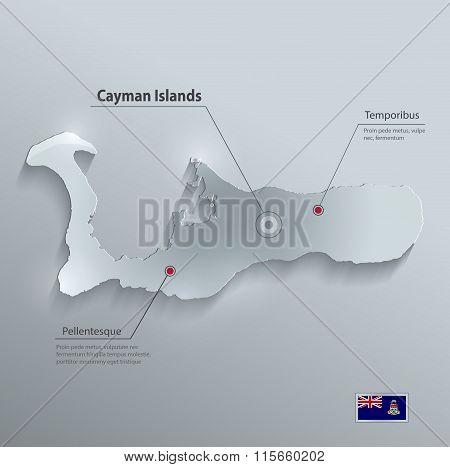 Cayman Islands map flag glass card paper 3D vector Grand Cayman