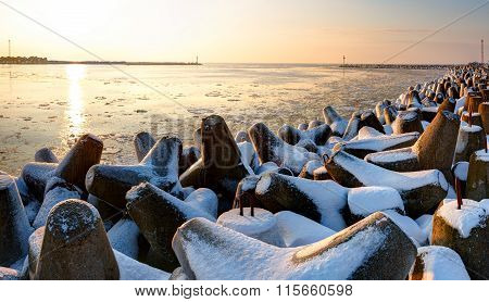 Frozen port of Baltic Sea at winter time. Lithuania