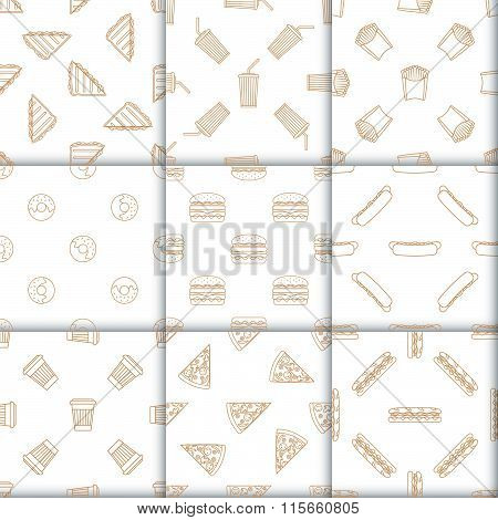 Various Fast Food Snacks Beverages Outline Seamless Pattern Set.