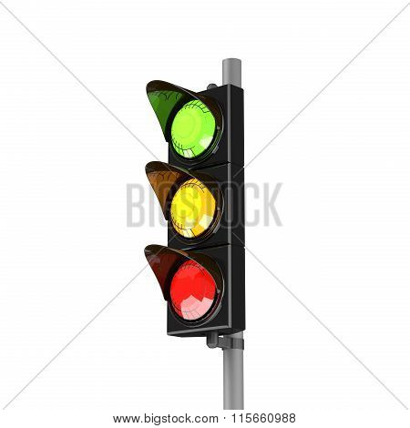 3D Traffic Stoplight Isolated On The White Background