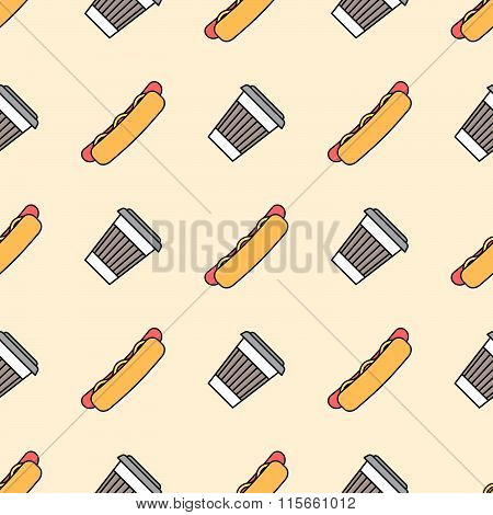 Hot Dog Coffee Hot Paper Cup Colored Outline Seamless Pattern.