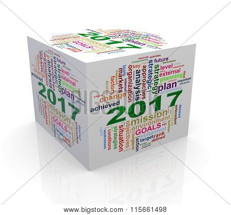 3D New Year 2017 Wordcloud Cube