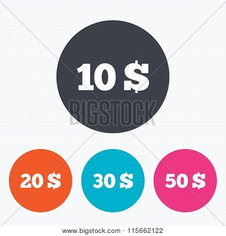 Money in Dollars icons. Ten, twenty, fifty USD.