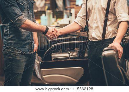 Handshake At Barbershop.
