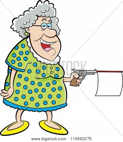 Cartoon old lady shooting a gun with message.