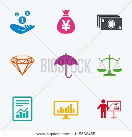 Money, cash and finance icons. Savings sign.