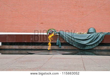 The eternal flame at the tomb of the Unknown Soldier near the Kremlin wall.