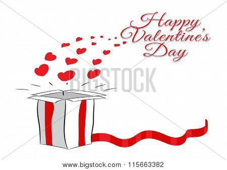 Box with red ribbon and hearts. Valentine's day. Vector