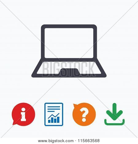 Laptop sign icon. Notebook pc symbol.