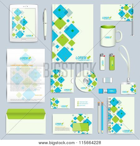 Set of vector corporate identity template. Modern business stationery mock-up. Branding design with