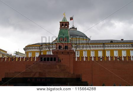 Lenin's mausoleum, and the Senate tower Senate building on Red Square.