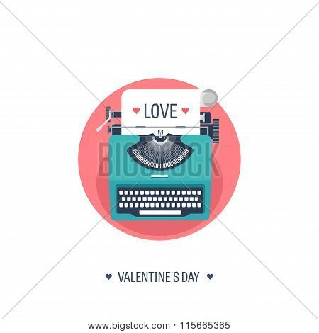 Vector illustration. Flat background with typewriter. Love, hearts. Valentines day. Be my valentine.