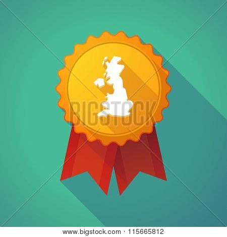 Long Shadow Badge Icon With  A Map Of The Uk