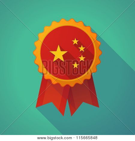 Long Shadow Badge Icon With  The Five Stars China Flag Symbol