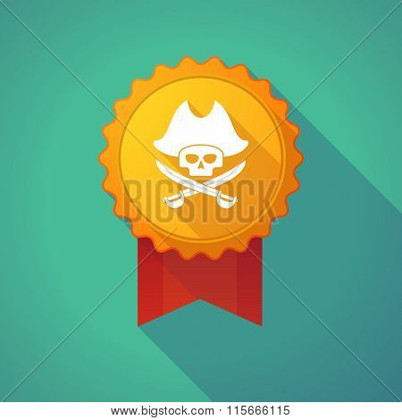 Long Shadow Badge Icon With A Pirate Skull