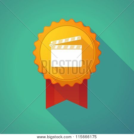 Long Shadow Badge Icon With A Clapperboard