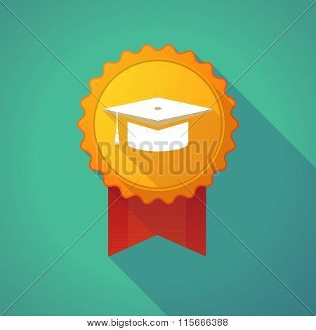 Long Shadow Badge Icon With A Graduation Cap